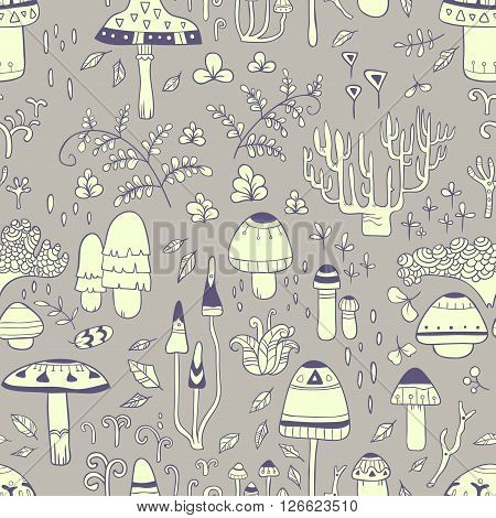 Mushrooms. vector seamless pattern with hand drawn mushrooms and forest herbs