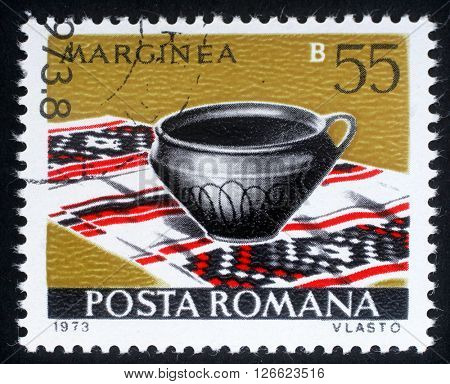 ZAGREB, CROATIA - JULY 18: a stamp printed in Romania shows Marginea from the series Romanian pottery, circa 1973., on July 18, 2012, Zagreb, Croatia