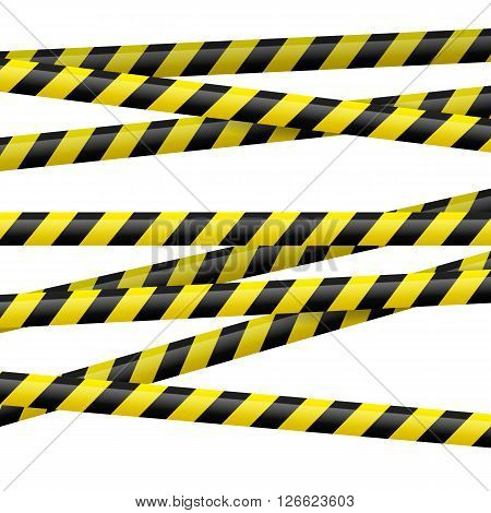 Realistic black and yellow danger tape. Illustration on white background