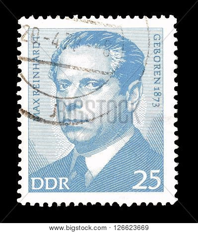 GERMAN DEMOCRATIC REPUBLIC - CIRCA 1973 : Cancelled postage stamp printed by German Democratic Republic, that shows Max Reinhardt.