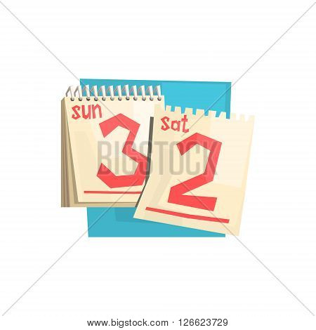 Loose-leaf Calendar Weekend Pages Flat Isolated Colorful Illustration In Cartoon Geometric Style On White Background