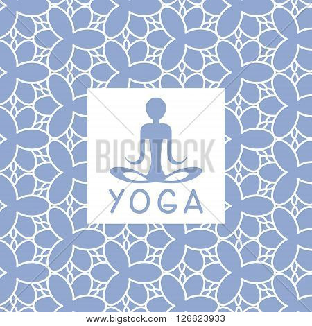 Abstact Person Blue Yoga Studio Design Card In Pastel Colors Flat Vector Design On Ornamental Background