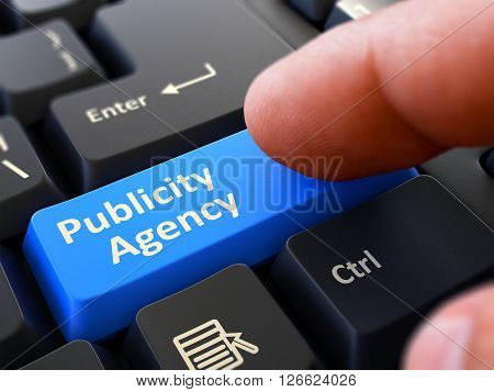 Computer User Presses Blue Button Publicity Agency on Black Keyboard. Closeup View. Blurred Background. 3D Render.