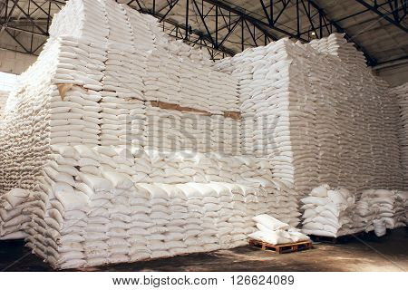Large Food Warehouse With Sugar Sacks