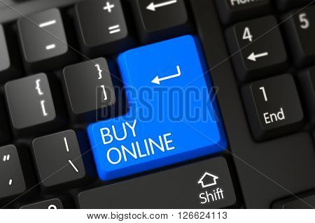 Black Keyboard with Hot Key for Buy Online. Buy Online Close Up of Modern Laptop Keyboard on a Modern Laptop. Buy Online Key on Modern Laptop Keyboard. 3D Illustration.