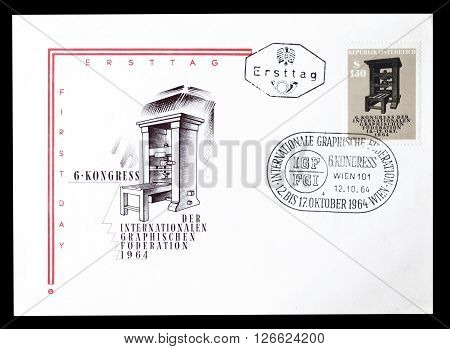 AUSTRIA - CIRCA 1964 : Cancelled First Day Cover letter printed by Austria, that shows Antique printing press.