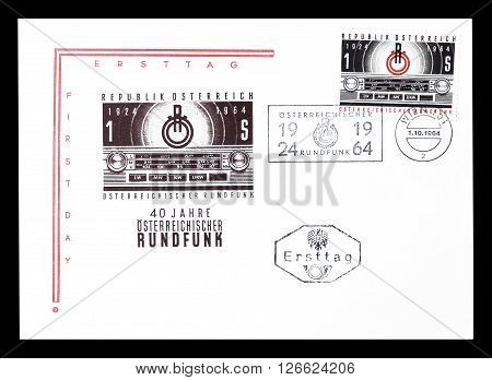 AUSTRIA - CIRCA 1964 : Cancelled First Day Cover letter printed by Austria, that shows Radio.