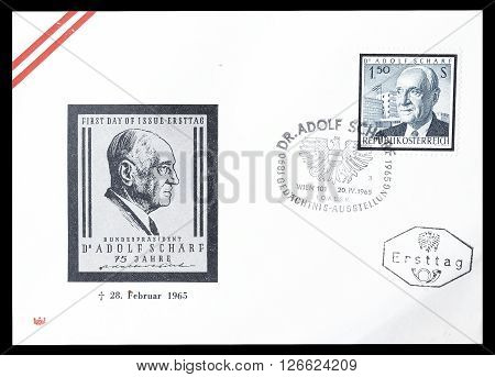 AUSTRIA - CIRCA 1965 : Cancelled First Day Cover letter printed by Austria, that shows Adolf Scharf.