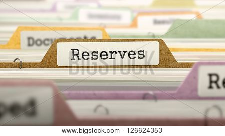 Reserves Concept on File Label in Multicolor Card Index. Closeup View. Selective Focus. 3D Render.