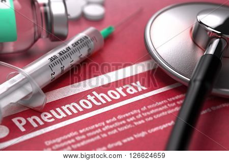 Pneumothorax - Medical Concept on Red Background with Blurred Text and Composition of Pills, Syringe and Stethoscope. 3D Render.