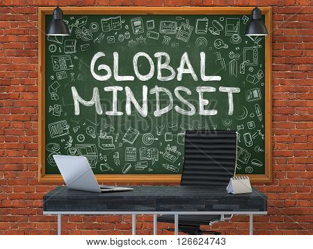 Green Chalkboard with the Text Global Mindset Hangs on the Red Brick Wall in the Interior of a Modern Office. Illustration with Doodle Style Elements. 3D.