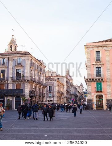 CATANIA ITALY - MARCH 31: View of Catania street on March 31 2016
