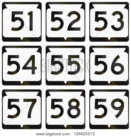 Collection Of Wisconsin Route Shields Used In The Usa