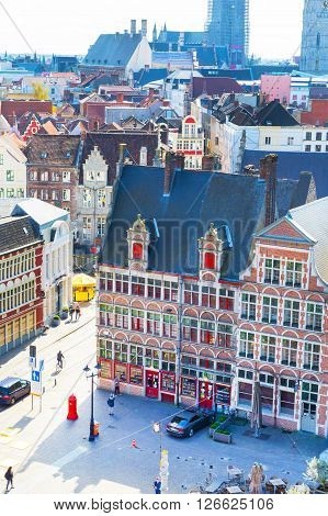 Ghent, Belgium - April 12, 2016: Aerial view of Ghent, Belgium with traditional buildings, square and rooftops.