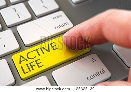 Close Up view of Male Hand Touching Active Life Computer Keypad. Business Concept - Male Finger Pointing Active Life Key on Laptop Keyboard. Hand Pushing Active Life Yellow White Keyboard Button. 3D.