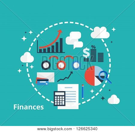 Finance and accounting concept. Vector icons of money, analytics, e-commerce and financial planning in flat style. Finance management in company.