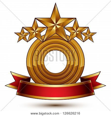 3d vector classic royal symbol with sophisticated five golden stars and red decorative wavy ribbon glossy golden element isolated on white background.