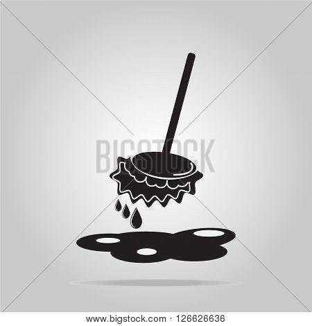 Mop icon sign wet floor cleaner concept