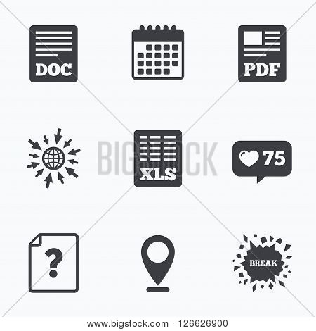 Calendar, like counter and go to web icons. File document and question icons. XLS, PDF and DOC file symbols. Download or save doc signs. Location pointer.