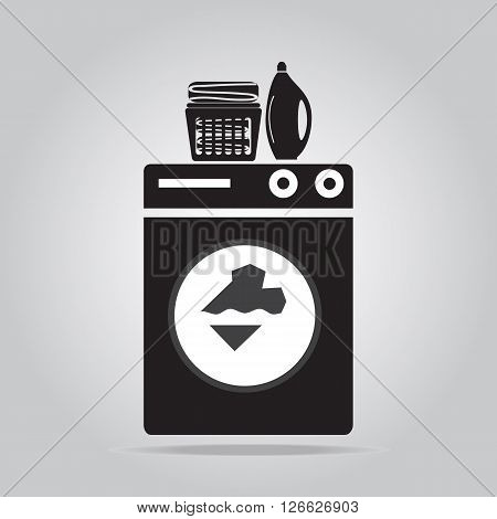 Laundry icon sign Wahsing machine detergents and fabric in basket