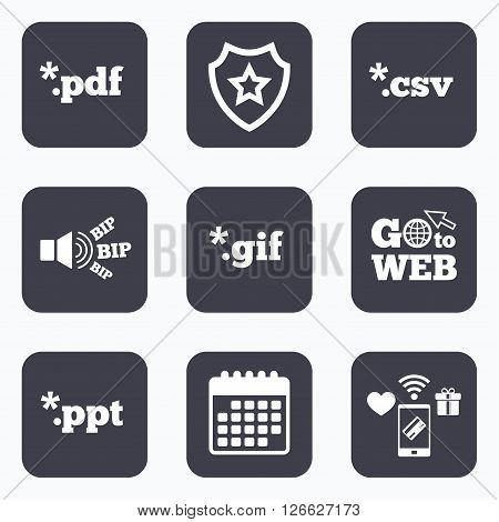 Mobile payments, wifi and calendar icons. Document icons. File extensions symbols. PDF, GIF, CSV and PPT presentation signs. Go to web symbol.
