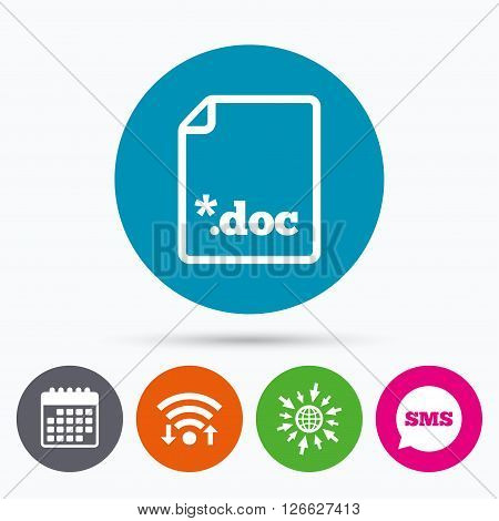 Wifi, Sms and calendar icons. File document icon. Download doc button. Doc file extension symbol. Go to web globe.