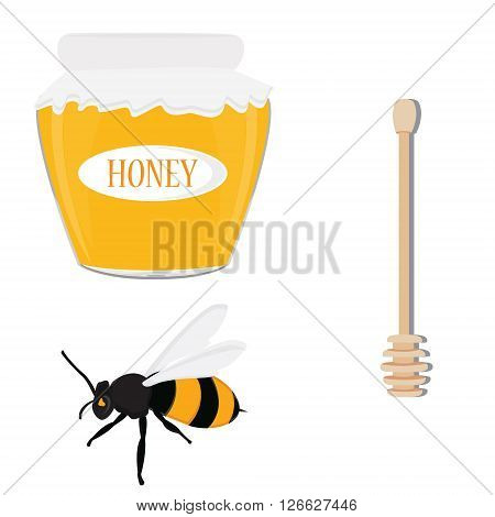 Vector illustration honey icon set with bee honey bank jar and honey stick