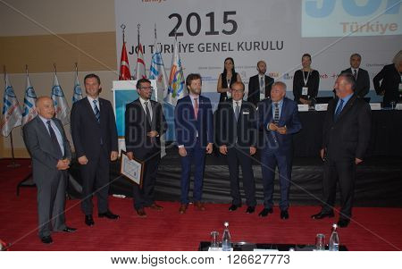 ANKARA/TURKEY-SEPTEMBER 12, 2015: JCI (Junior Chamber International) President Ismail Haznedar (2nd left) at ATO Congresium Hall for the General Assembly of JCI Turkey 2015. September 12, 2015-Ankara/Turkey