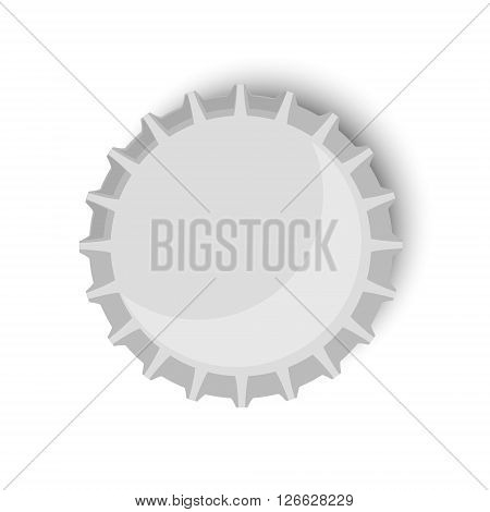 Vector illustration metallic bottle cap. Beer bottle cap top view