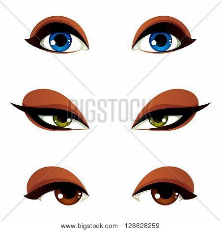 Vector Female Eyes In Different Emotion With Blue, Brown And Green Eye Iris. Women Eyes With Stylish