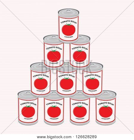 Vector illustration can of tomato soup isolated on white background. Canned food. Tomato soup cans pyramid