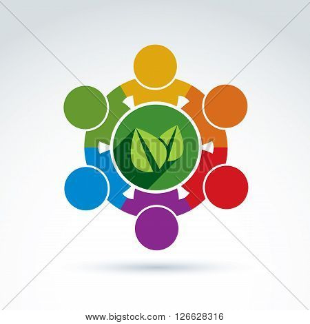 Vector colorful green leaves international ecology association icon. Concept of environment conservation eco friendly life idea.