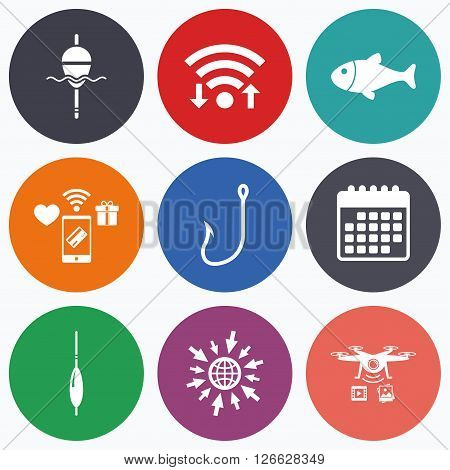 Wifi, mobile payments and drones icons. Fishing icons. Fish with fishermen hook sign. Float bobber symbol. Calendar symbol.