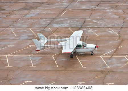 Zhitomir Ukraine - June 7 2014: Cessna 337 Skymaster taxiing along the apron at the airport