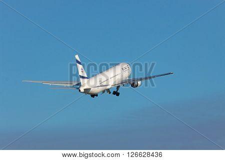 Borispol Ukraine - October 2 2010: El Al Boeing 767 passenger plane is taking off