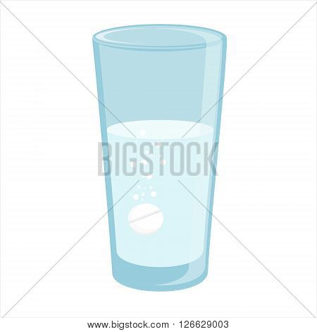 Vector illustration glass with water and tablet in it. Effervescent pill tablet