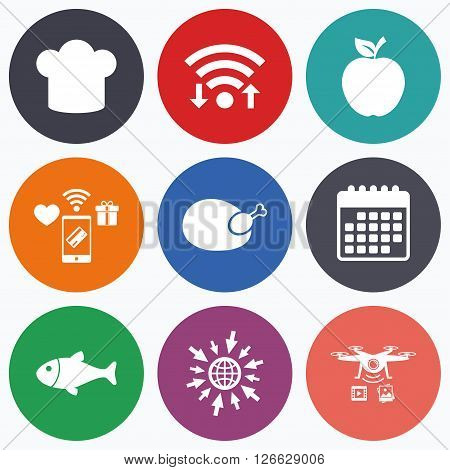 Wifi, mobile payments and drones icons. Food icons. Apple fruit with leaf symbol. Chicken hen bird meat sign. Fish and Chef hat icons. Calendar symbol.