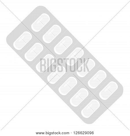 Vector illustration white pills in a blister pack. Tablet strip icon.