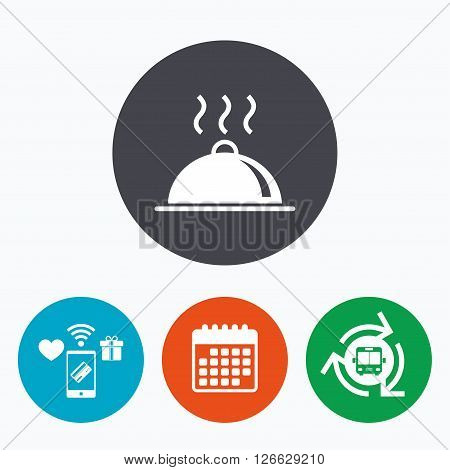 Food platter serving sign icon. Table setting in restaurant symbol. Hot warm meal. Mobile payments, calendar and wifi icons. Bus shuttle.