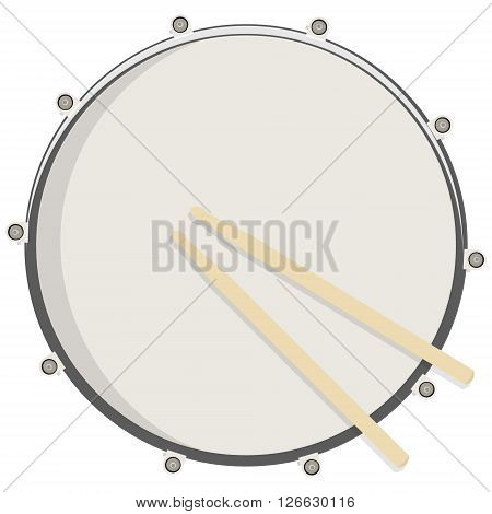 Vector illustration drum and sticks top view. Drum snare icon symbol logo