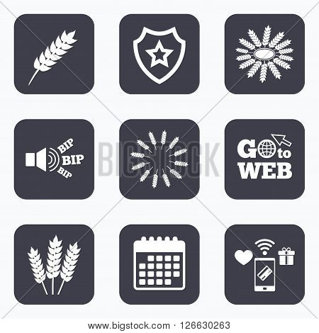 Mobile payments, wifi and calendar icons. Agricultural icons. Gluten free or No gluten signs. Wreath of Wheat corn symbol. Go to web symbol.