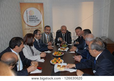 ANKARA/TURKEY-MAY 30, 2013: Cemil Cicek (Middle), the President of the Turkish Grand National Assembly (TGNA) at the