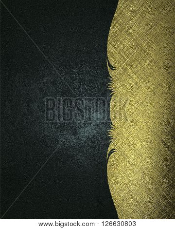Blue Grunge Background With Gold Ornament. Template For Design. Copy Space For Ad Brochure Or Announ