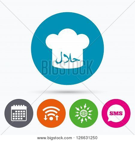 Wifi, Sms and calendar icons. Halal food product sign icon. Chef hat. Natural muslims food symbol. Go to web globe.