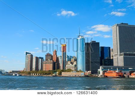 Manhattan Skyline over Hudson River New York City USA
