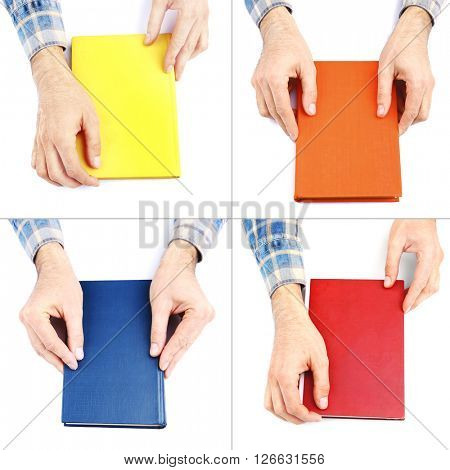 Hands holding bright color book isolated on white in collage