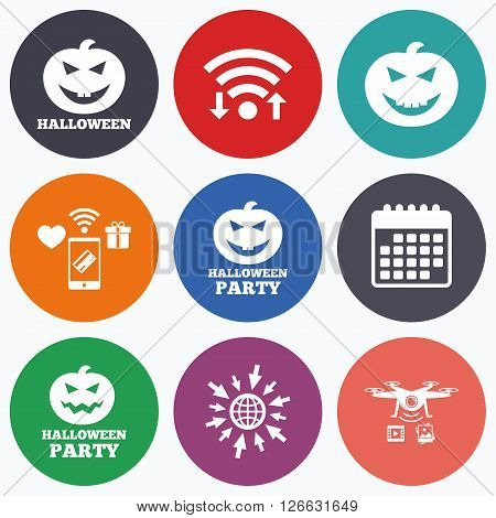 Wifi, mobile payments and drones icons. Halloween pumpkin icons. Halloween party sign symbol. All Hallows Day celebration. Calendar symbol.