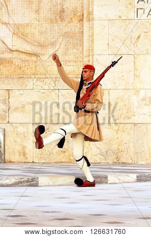 ATHENS, GREECE - SEPTEMBER 07, 2013: Guardsman near parliament in Athens, Greece