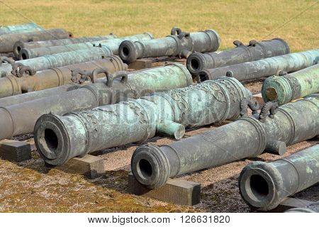 Old cannons in Military Artillery Museum in St.Petersburg Russia.