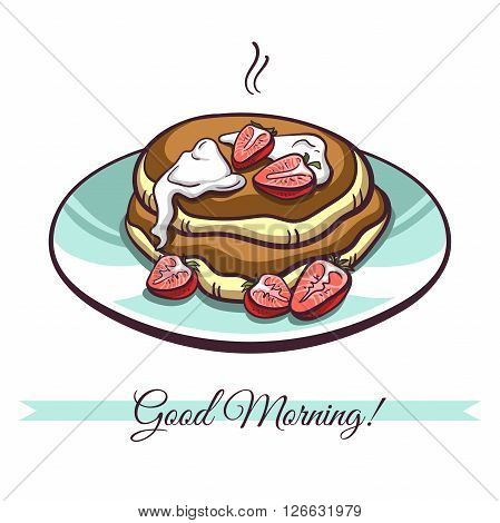 Hand drawn pancakes with cream and strawberries on a plate. Pancakes in cartoon style isolated on white background. Vector illustration.